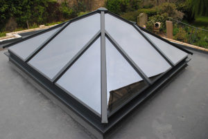 Openable skylight structural pyramids